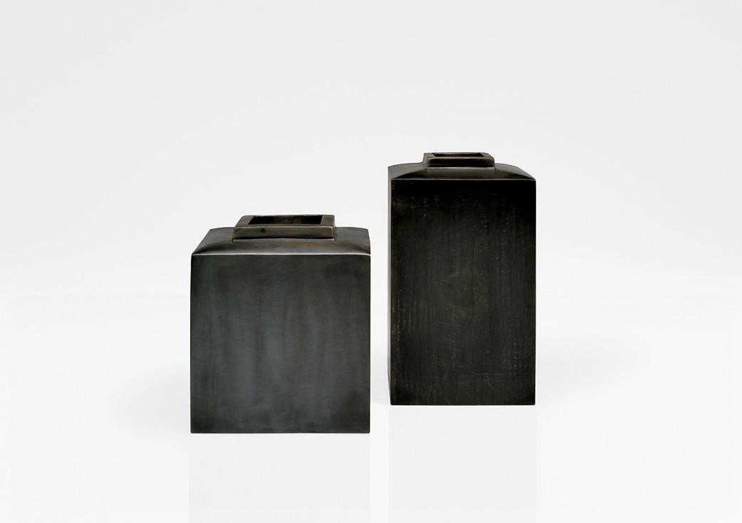 Large dark bronze vases