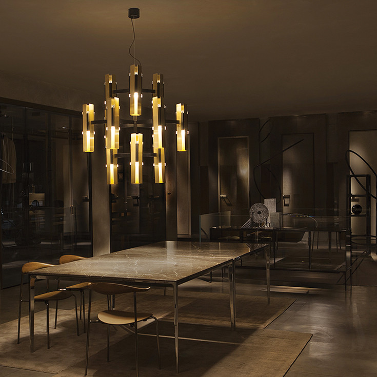 Brushed brass, black powder-coated steel and transparent PMMA double chandelier