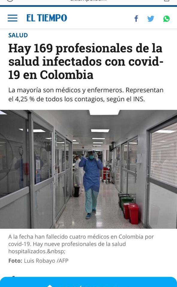 Noticias Médicos infectados en Colombia
