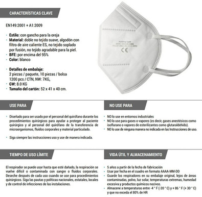 Ficha Técnica Tapabocas KN95