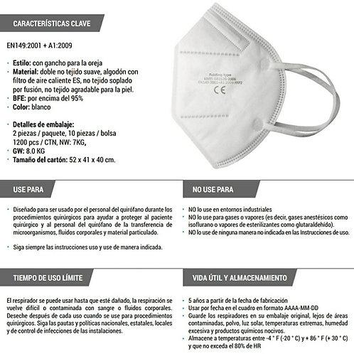 Tapabocas  KN95 de 5 Capas X Mayor Certificado FDA y CE