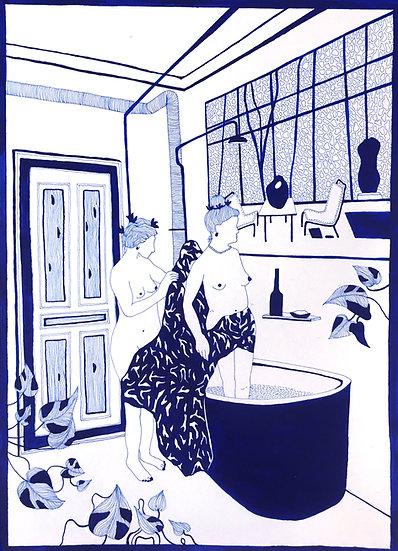 Two women bathe