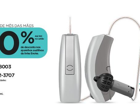 Até 40% de desconto em aparelhos auditivos Widex da linha Evoke 220, 330 e 440.