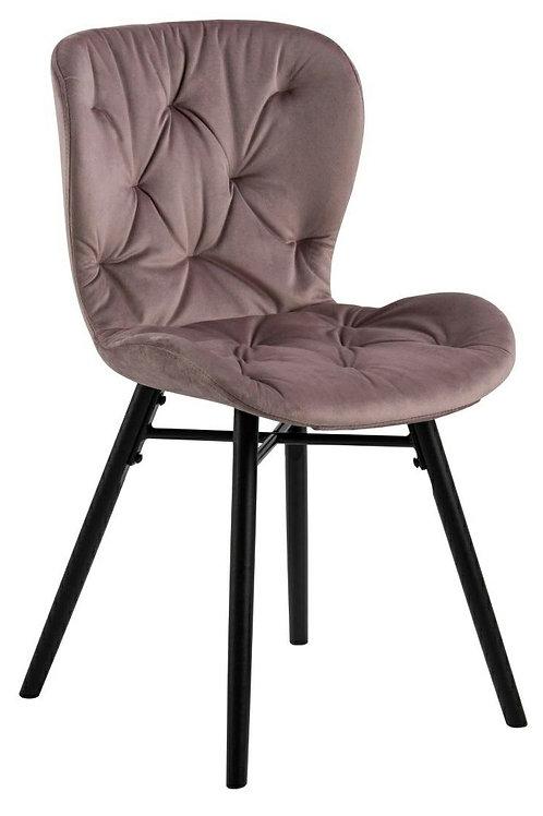Krzesło pikowane welurowe   różowe   Nela  11