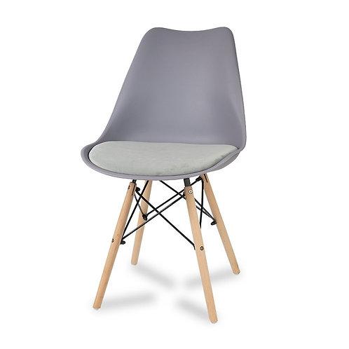 Krzesło z welurową szarą poduszką Luna 1