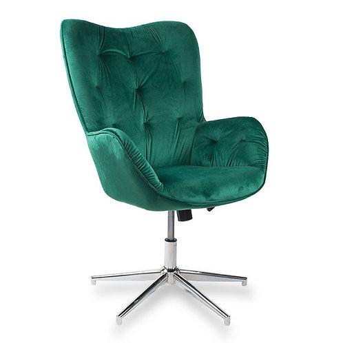 Fotel obrotowy z weluru zielony  Leopold 21