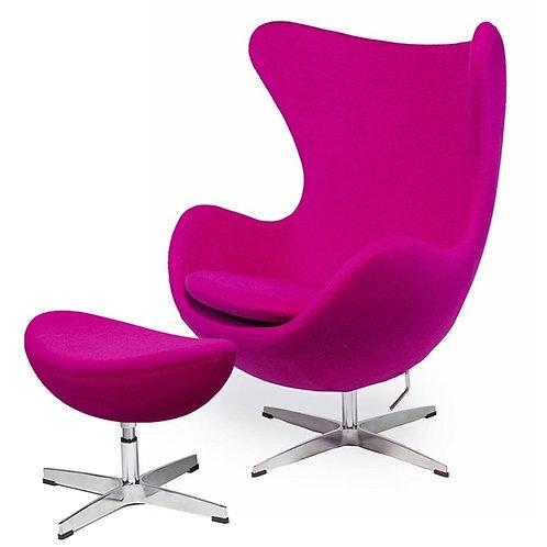 Fotel EGG CLASSIC z podnóżkiem - fuksja