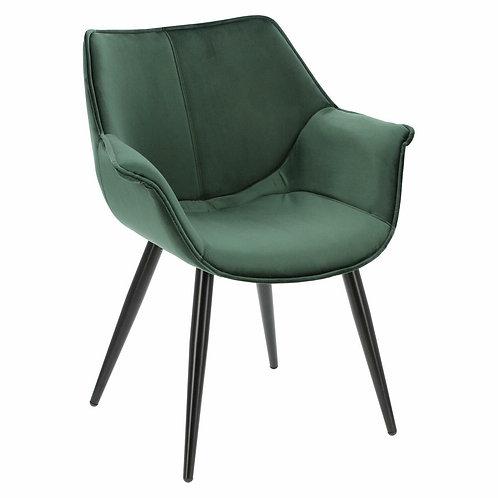Krzesło zielone  welurowe  z czarnymi nogami  Julia 3