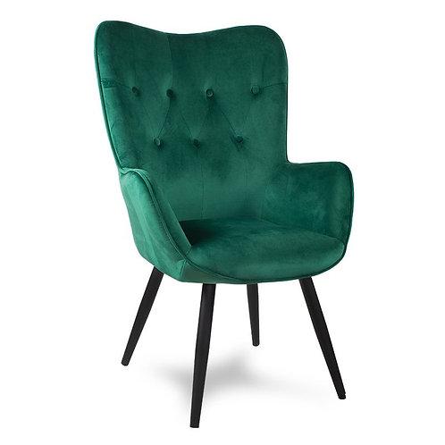 Fotel uszak ciemno  zielony z czarnymi nogami  Paris 33