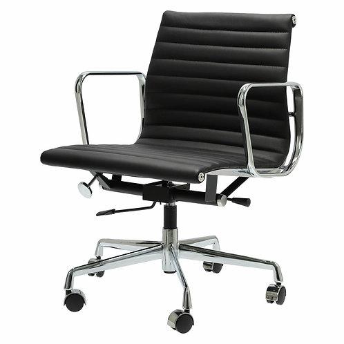 Fotel biurowy czarny obrotowy skóra naturalna Damian 1