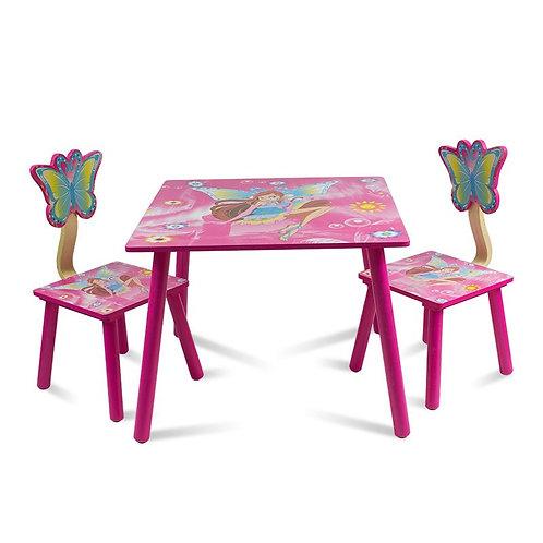 Zestaw dziecięcy stół + 2 krzesła z drewna Pink
