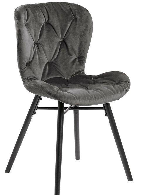 Krzesło pikowane welurowe  szare  Nela  12