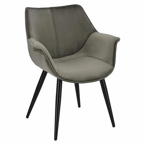 Krzesło szare welurowe  z czarnymi nogami  Julia 1