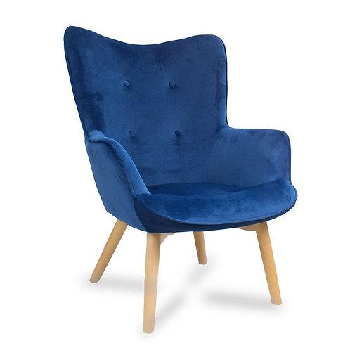 Fotel uszak niebieski welurowy