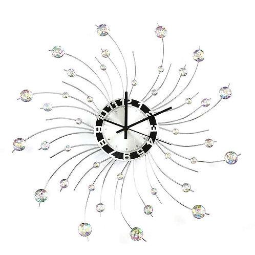Nowoczesny srebrny zegar ścienny wiszący  z kryształkami