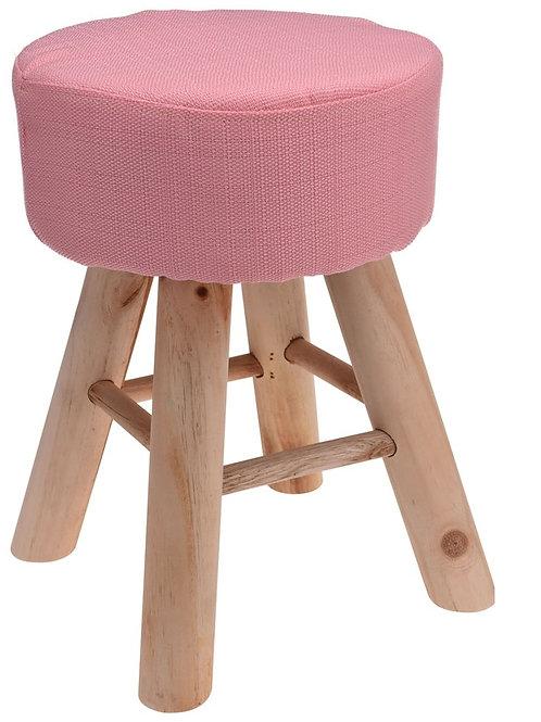 Drewniany stołek różowy