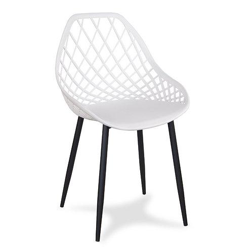 Białe krzesło na metalowych nogach Aleksander 2