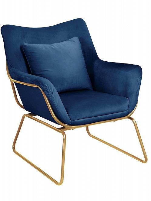Fotel welurowy ciemno niebieski  złote nóżki  33