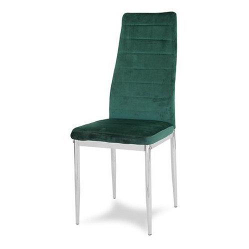Krzesło zielone welurowe na chromowanych nogach