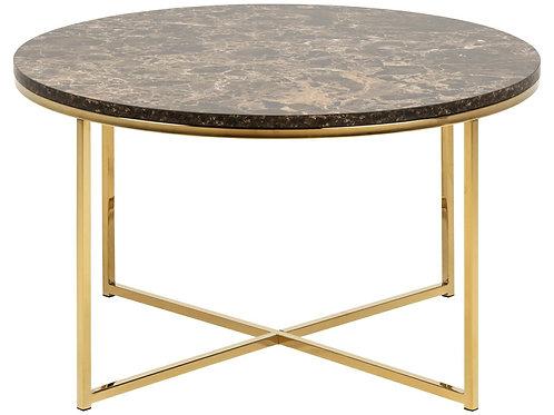 Stolik Wenecja  brązowy/złoty okrągły