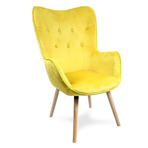 Fotel uszak welurowy żółty 1