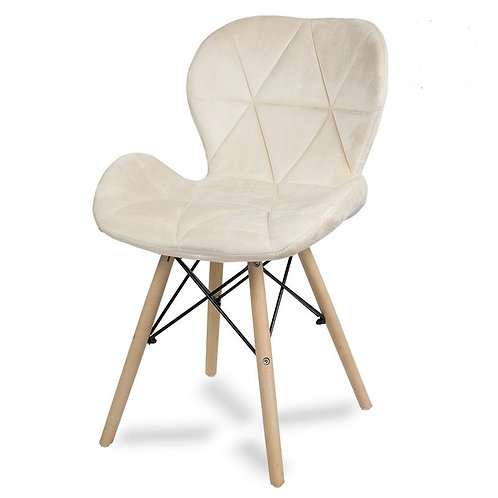 Krzesło kremowe   welurowe Lusia 8