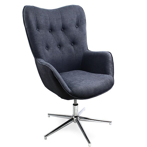 Fotel uszak tapicerowany obrotowy ciemny szary  11