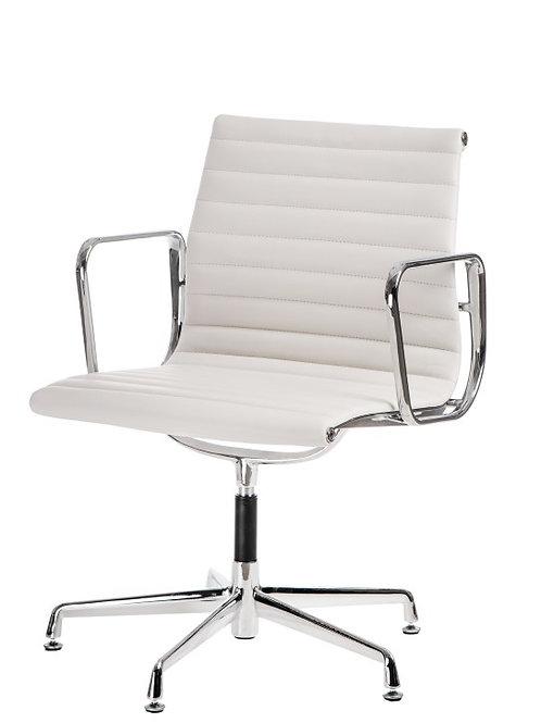 Designerski fotel biurowy biały - skóra