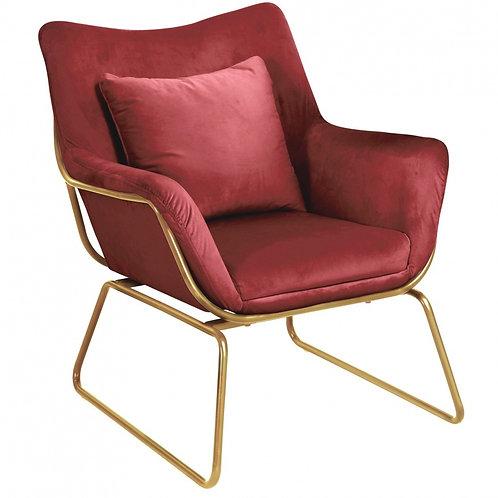 Fotel welurowy Bordowy  złote nóżki  33