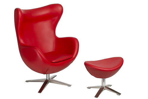 Fotel EGG czerwony  -  skóra ekologiczna z podnóżkiem