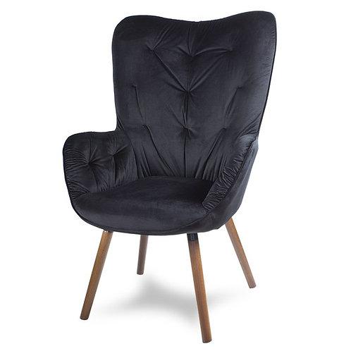 Fotel uszak czarny  welurowy nogi wenge Demeter 2