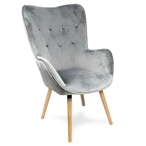 Fotel szary pikowany welurowy  Cozy 11