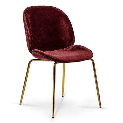 Krzesło bordowe  welurowe  Salomon złote nóżki