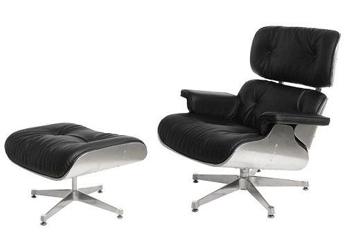 Fotel  z podnóżkiem czarny/aluminium ,skóra naturalna