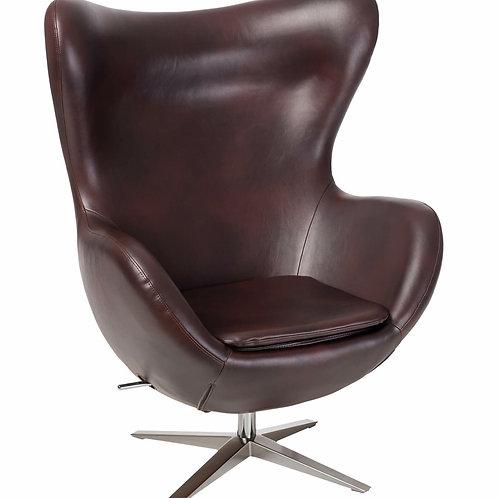 Fotel EGG Soft skóra ekologiczna brązowy ciemny