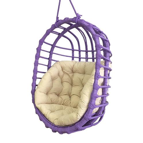 Wiklinowy fotel podwieszany  owalny - fioletowy
