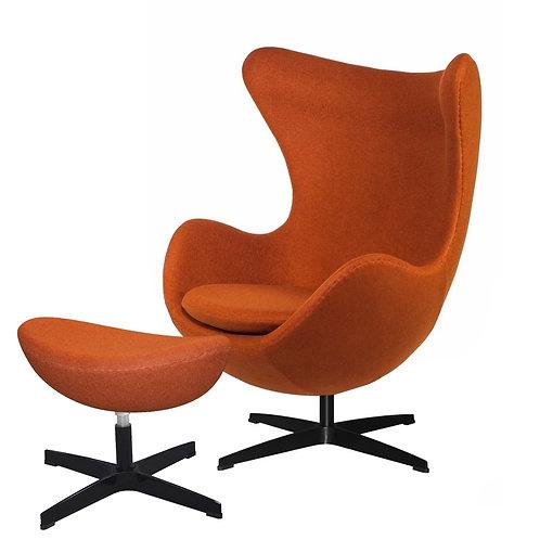 Fotel EGG  z podnóżkiem - karmel