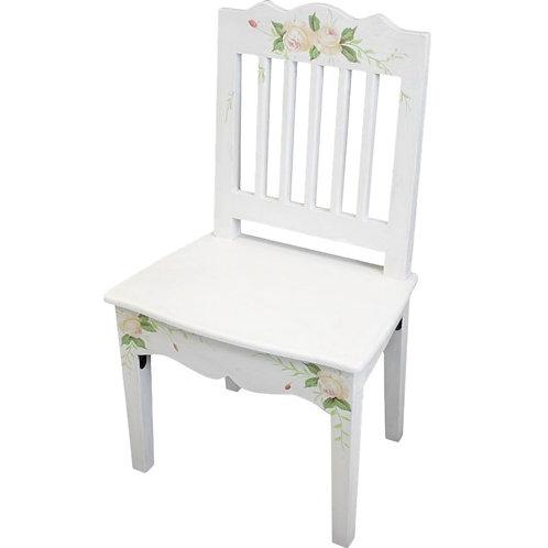 Białe krzesło Shabby Chic - Flowers II