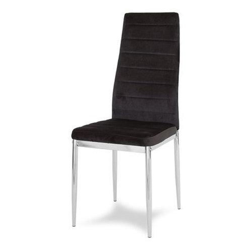 Krzesło czarne welurowe na chromowanych nogach