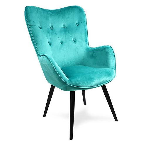 Fotel uszak welurowy  zielony czarnymi nogami