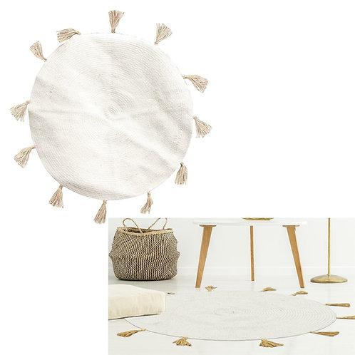 Dywanik biały bawełniany Boho  90 cm