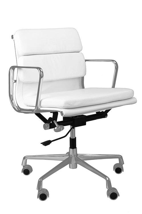 Fotel biurowy -  biała skóra chrom  LUIZA