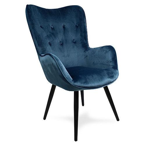 Fotel uszak welurowy  ciemno niebieski  z czarnymi nogami