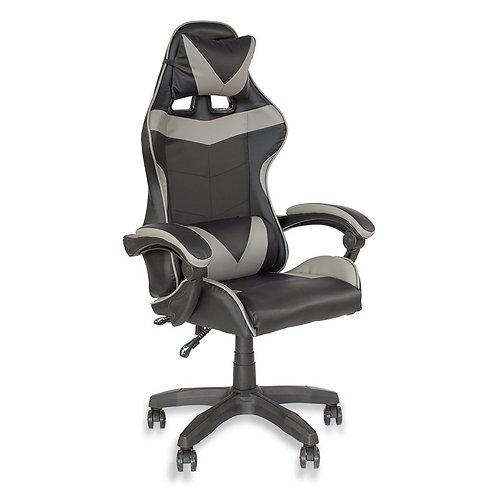 Fotel czarno - szary  biurowy gamingowy ekoskóra