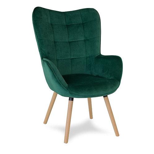Fotel zielony uszak  welurowy Tina 1