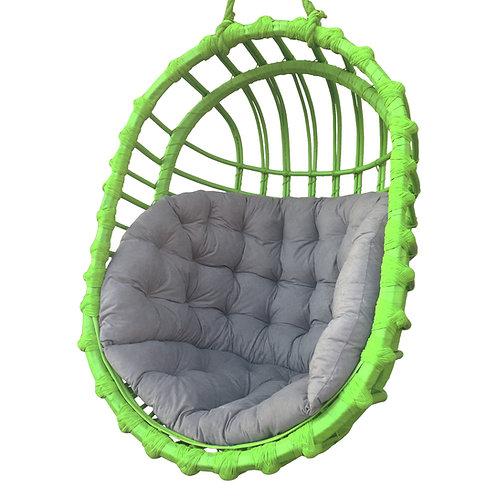 Wiklinowy fotel podwieszany  owalny - zielony