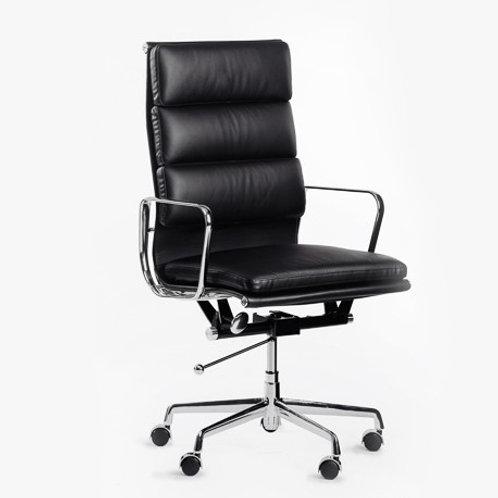 Czarny fotel biurowy Vip Office 33 skóra naturalna