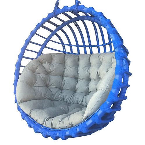 Wiklinowy fotel kula  niebieski   - Rattan Swing
