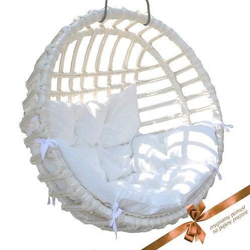 Wiklinowy fotel kula biała - Rattan Swing