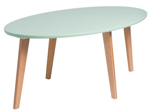 Owalny stolik z zielonym  blatem